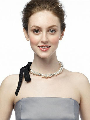 CLOSEOUT - Faux Pearl and Rhinestone Ribbon Necklace http://www.dessy.com/accessories/pearl-and-rhinestone-ribbon-necklace/