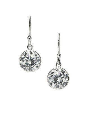 Sterling Silver Solitaire Bezel Drop Earrings http://www.dessy.com/accessories/sterling-silver-swarovski-crystal-earrings/