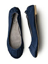 Pleated Satin Ballet Flat