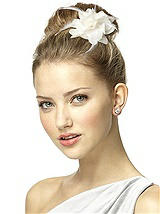 Nu-Georgette and Feather Flower Bridal Hair Clip