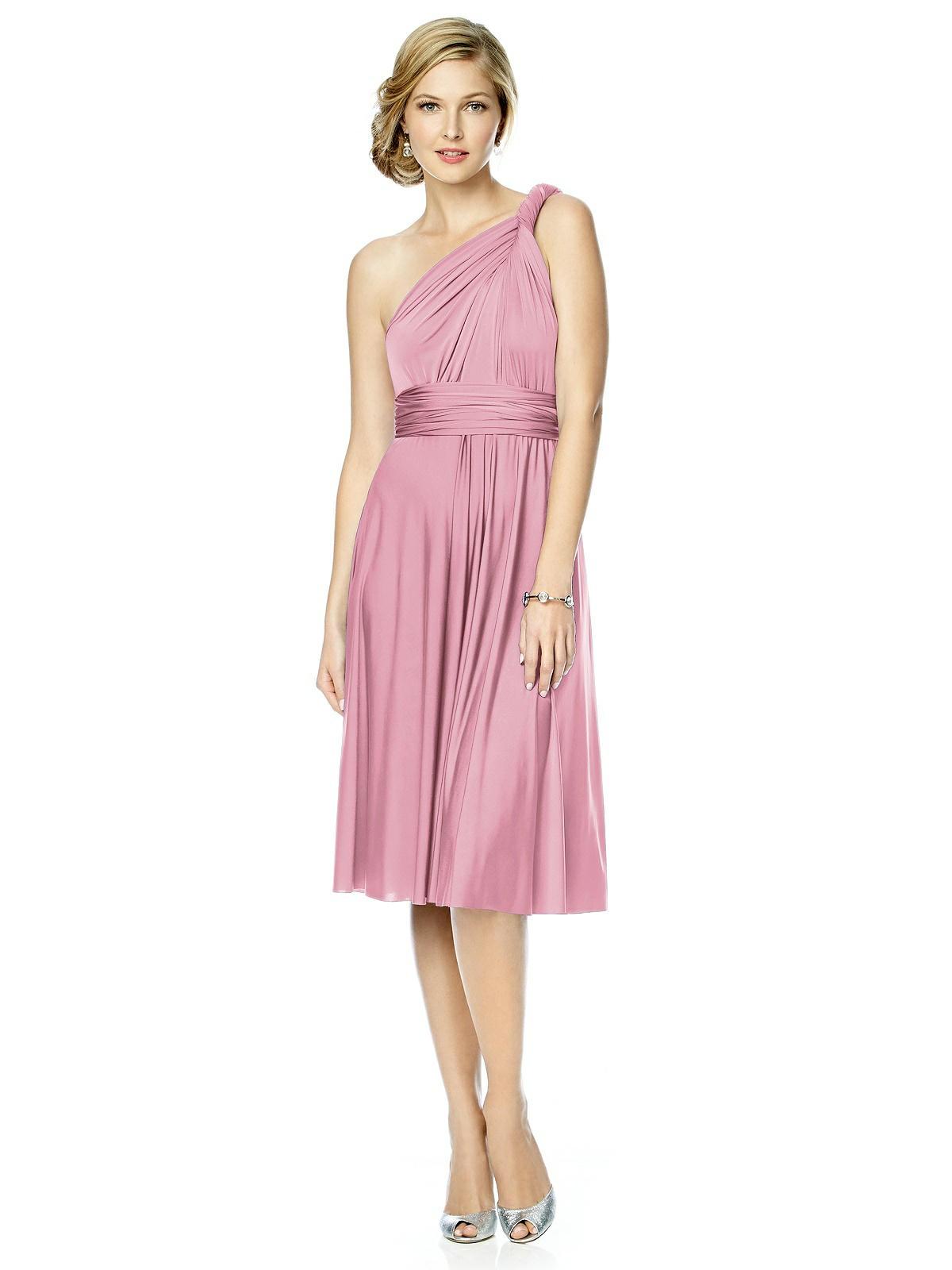 pink twist wrap bridesmaid dress