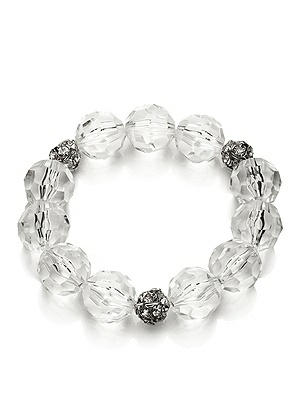 Faceted Clear Resin Bauble Bracelet http://www.dessy.com/accessories/faceted-clear-resin-bracelet/